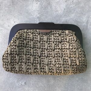 Banana Republic Olive Raffia And Wood Clutch